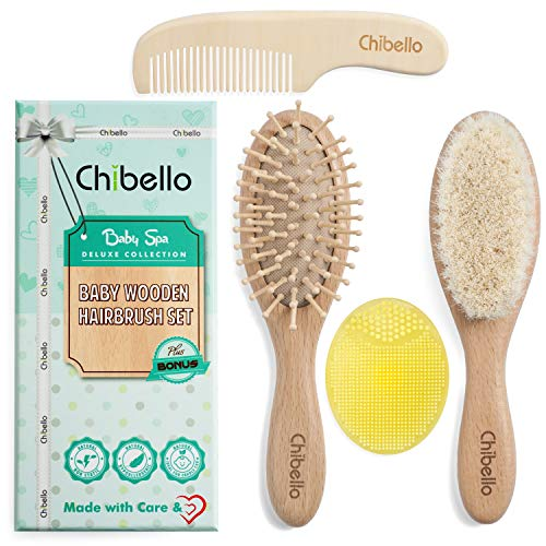 Chibello 4 Piece Wooden Baby Hair Brush and Comb Set | Natural Goat Bristles Brush for Cradle Cap Treatment | Wood Bristle Brush for Newborns and Toddlers | Perfect for - Natural Brush Hair Baby