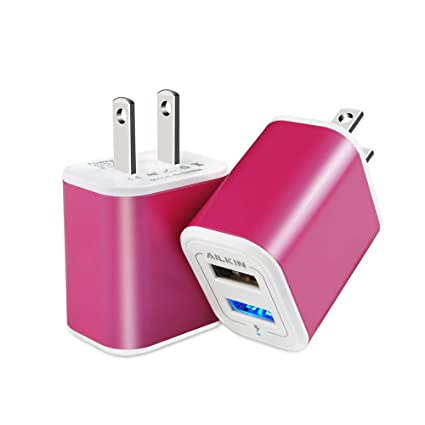 USB Charger Adapter, Wall Charger, Ailkin 2.1A/2Pack Dual Port Fast Charging Cube Power Charge Plug Replacement for Phone X/8/7 Plus, Samsung ...