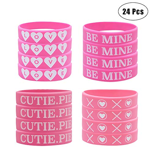 (24 Pack Valentine's Day Heart Silicone Wristband Bracelets, Party Favors Decoration Kids School Gifts Supplies Teacher's Prizes, Carnival)