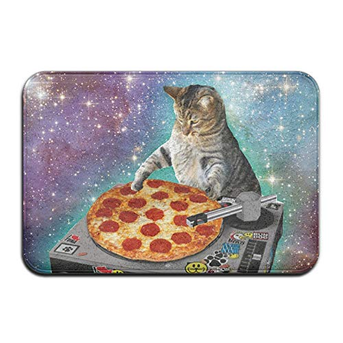 (UDSNIS Mats Food Funny Creative Hipster DJ Cat Pizza Cat Non-Slip Doormat Cute Rubber Door Rug Bath Mat All Weather Absorbent for Entrance Way Indoor,Farmhouse,Patio)