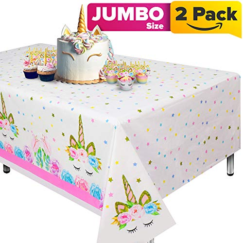 Unicorn Tablecloth, Set of 2 unicorn table cloth for birthday party, Extra-Large 108