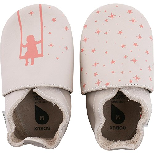 Bobux Girl on a Swing Print Milk Leather Baby Soft Soles Milk