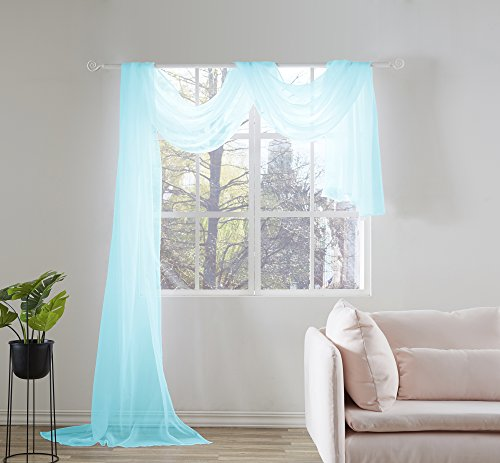 KEQIAOSUOCAI Sheer Window Scarf-Valance,52'x216',Sky Blue