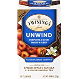 Twinings of London Daily Wellness Tea, Unwind Sleep Supporting Passionflower & Camomile, Spiced Apple & Vanilla, Flavored Herbal Tea, 18 Count (Pack of 6)