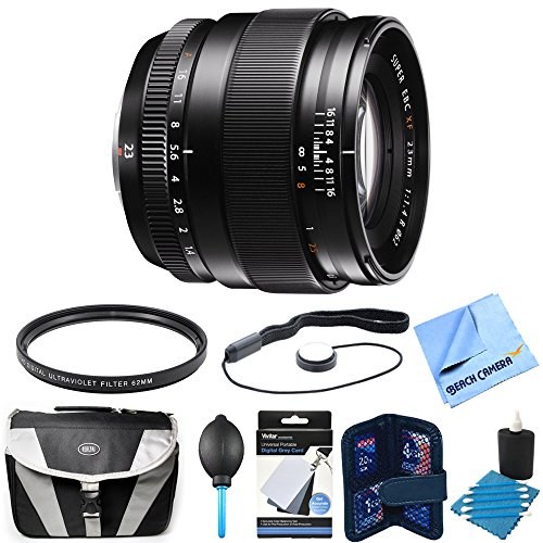 Fujifilm Fujinon XF 23mm (35mm) F1.4R Lens Bundle includes 23mm lens, cleaning kit, memory card wallet, gadget bag, white balance cards, micro fiber cloth, lens cap keeper, and more by Fujifilm