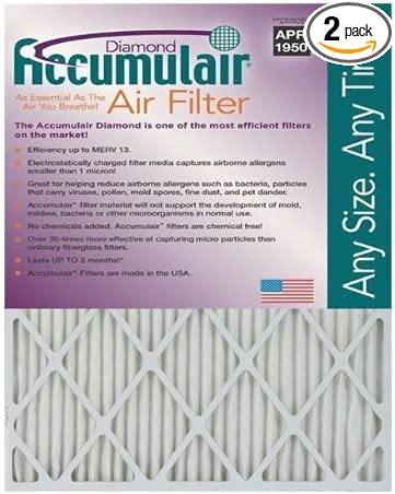 2 Pack MERV 13 Air Filter//Furnace Filters Actual Size Accumulair Diamond 20x22.25x1