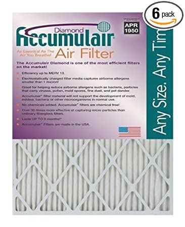 2 Pack MERV 8 Air Filter//Furnace Filter Actual Size Accumulair Gold 11.5x21x1