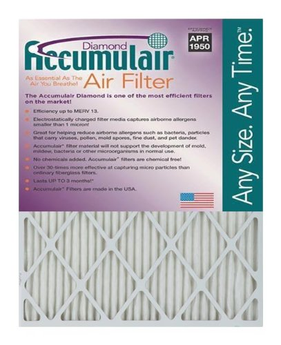 "Accumulair FD24X25A_6 Diamond MERV 13 Air Filter/Furnace Filters, 24"" L x 25"" W, 6 Piece"