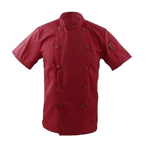 Ropa Traje Chaqueta De Cocinero Para Hombres Mujeres Cuello Mao De Manga Corta Cocina Uniforme Encabeza - rojo, L
