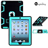 MagicSky Rugged Hybrid Case for Apple iPad 2 / 3 / 4 – Cyan / Black