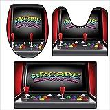 qianhehome Toilet mat 3 Pieces Microfiber Soft Arcade Machine Retro Gaming Fun Joystick Buttons Vintage 80s 90s Electronic Multicolor.Non Slip Bathroom 15.7''x15''-19.6''x19.6''-31''x19.6''