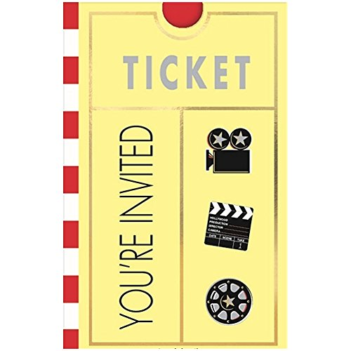 - Lights, Camera, Action Movie Party Invitations With Envelopes - 8 Pack