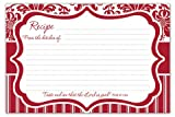 "Red & White Damask 4"" X 6"" Recipe Cards with Scripture - Pkg. Of 36"