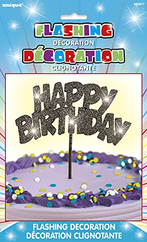 Flashing Black Happy Birthday Cake Topper Decoration