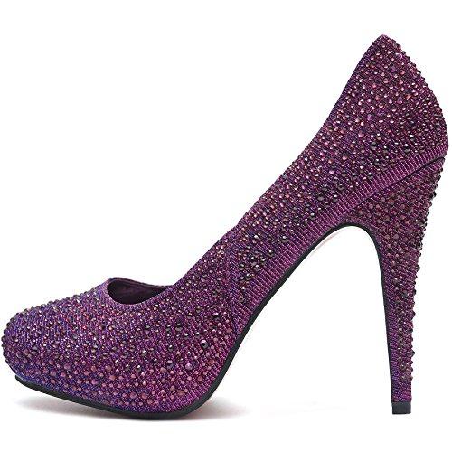 Damen Plateau Pumps High Heels Schuhe Crystal Strass Glitzer mit Roter Lack  Sohle Violett