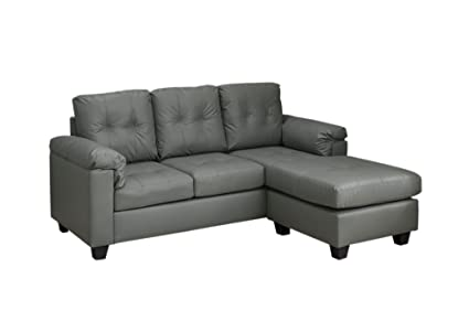 Monarch Specialties I 8390LG Light Grey Bonded Leather Sofa Lounger