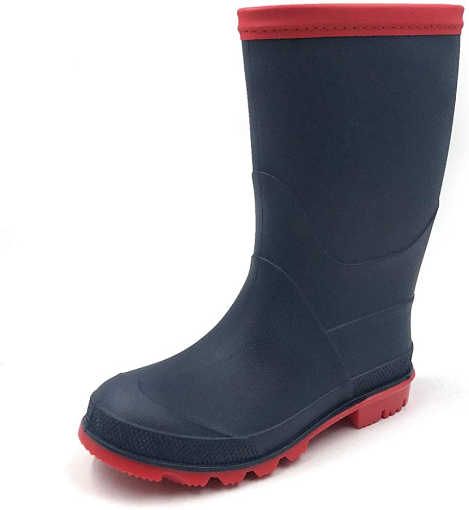 AMOJI Kids Rain Boots Shoes Easy-on Waterproof