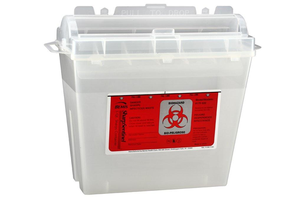 Bemis Healthcare 175 020 Translucent Beige Sharps Container, 5 quart (Pack of 32)