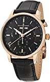 Alexander Statesman Chieftain Wrist Watch For Men - Black Leather Analog Swiss Watch - Stainless Steel Plated Rose Gold Watch - Black Dial Day Date Month Mens Chronograph Watch - Mens Designer Watch A101-04
