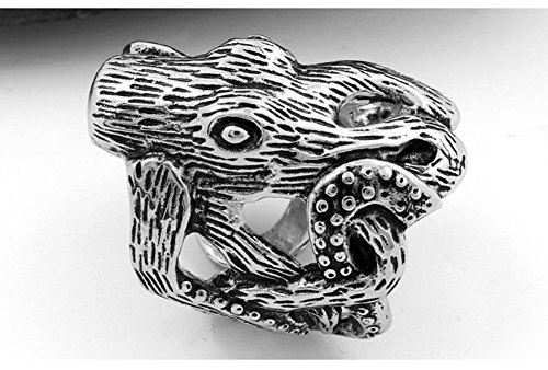 SAINTHERO Large Men's Gothic Casted Skull Stainless Steel Octopus Sea Monster Squid Punk Antique Ring