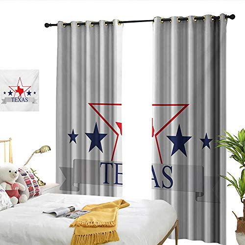 WinfreyDecor Texas Star Decor Curtains San Antonio Dallas Houston Austin Map with Stars Pattern USA Darkening and Thermal Insulating W120 x L84