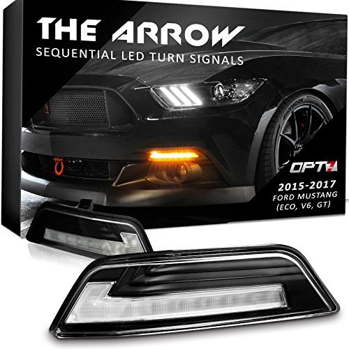 Arrow Sequential Mustang LED Front Turn Signal Pair w/Switchback DRL for 15-17 - White Amber Light Left Right ()
