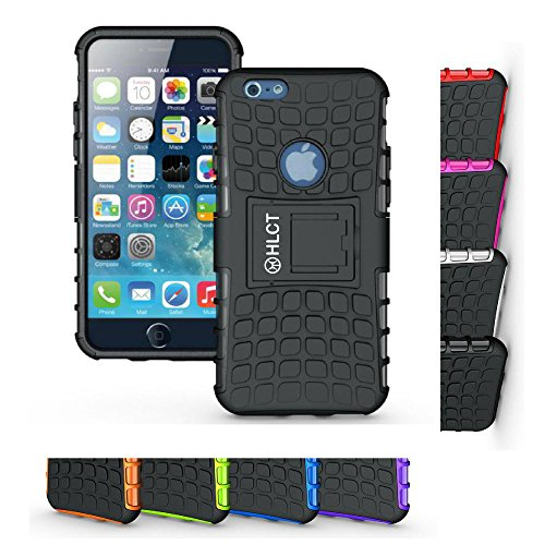 Price comparison product image iPhone 6s Case,  HLCT Rugged Shock Proof Dual-Layer Case with Built-In Stand Kickstand for iPhone 6s / 6 (Black)
