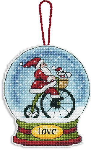 (Dimensions Counted Cross Stitch Love Santa Snow Globe Christmas Ornament Kit, 3.75'' W x 4.5'' H)