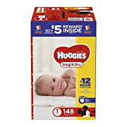 HUGGIES Snug & Dry Diapers, Size 1, 148 Count (Packaging May Vary)