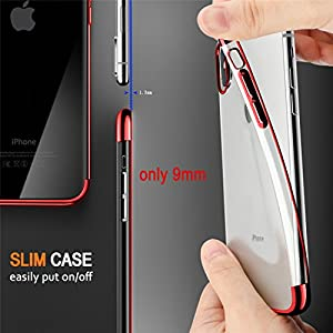 iPhone X Case, COOLQO [Support Wireless Charging] Ultra-thin Crystal Clear Soft Flexible TPU Bumper Slim Electroplating Transparent Protective Cover & Skin For Apple iPhone 10 / X 5.8 inch (Red)