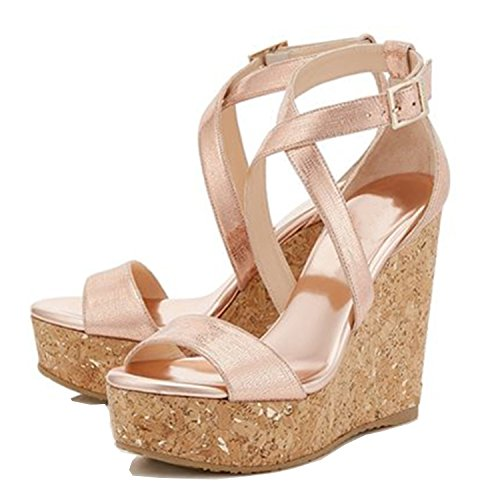 Sexy Peep Toe Platform - 100FIXEO Pink Women Sexy Peep Toe Platform Strappy Wedges High Heels Party Sandals Shoes Size 8.5 (B) M US