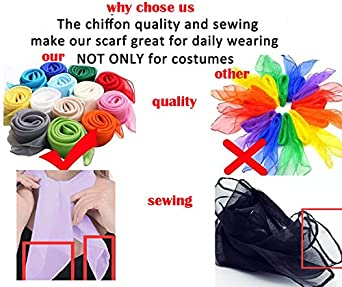 26x26 Sheer Chiffon Scarf Square Neck Head Scarf 50s Scarf for Fashion Women Mens Children