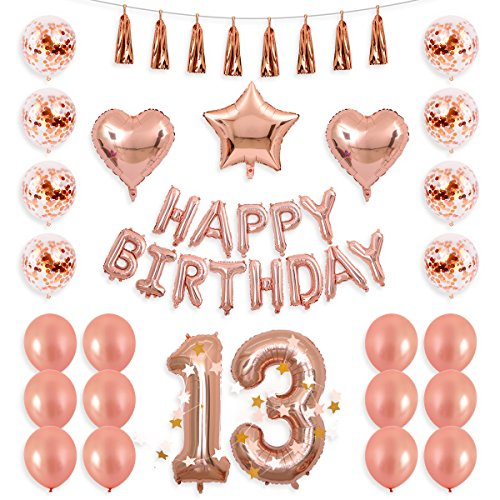 BALONA 40inch Rose Gold 13rd Number Balloon 12inch Rose Gold Confetti Balloon with Happy Birthday Banner Star Balloon Heart Balloon Foil Rose Gold Tassel Garland for Birthday Party Decoration (Rose13)