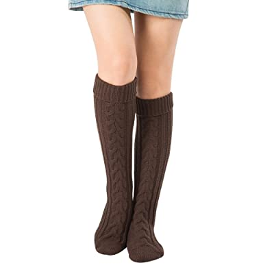 1 Paire Chaussettes haute Femmes Tricot Chaussettes, Dames Filles Genou Chaussettes Tricot Bas Hiver Chaud Longs Chaussettes 8 Couleurs