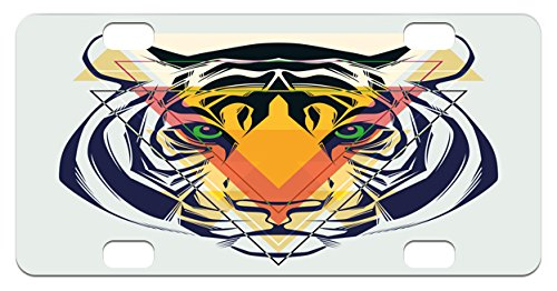 Tiger Mini License Plate by Ambesonne, Green Eyed Large Cat with Geometrical Shapes in front of It Abstract Art, High Gloss Aluminum Novelty Plate, 2.94 L x 5.88 W Inches, - Geometrical Cat