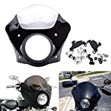 KaTur Clear Windshield Quarter Fairing Mask Cowl Kit for Harley 1988-Later XL/1986-1994 FXR /95-05 Dyna