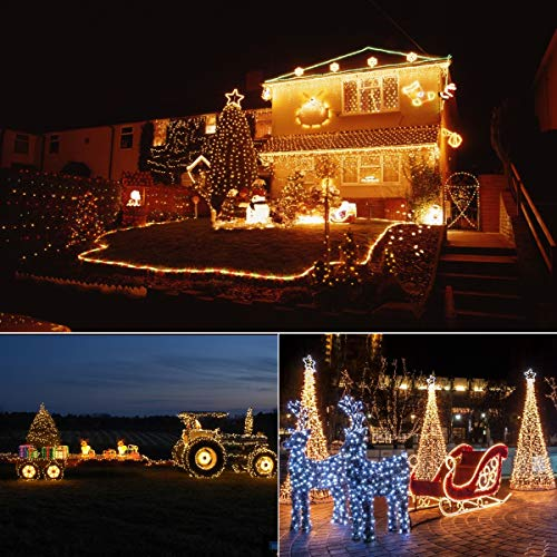 [IP65 Waterproof] Christmas String Lights Outdoor, 50 LED Fairy Lights Battery Operated 16.4Ft Green Cable with 8 Modes, Timer and Memory for Xmas Tree, Halloween, Party, Wedding, Garden - 2 Pack