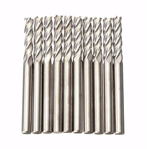 SUCAN 10pcs 3.175mm Fraise en carbure de tungst/ène CNC 4 Fl/ûte Spirale Fraise En Cylindre 15mm
