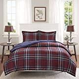 3 Piece Navy Blue Burgundy Red Plaid Comforter Full Queen Set, Cozy Warm Cabin Themed Bedding Checked Lumberjack Pattern Lodge Southwest Tartan Madras Cottage, Reversible Solid Color Microfiber