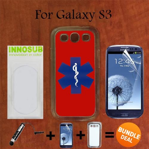 EMT on Red Custom Galaxy S3 Cases-CLEAR-Plastic,Bundle 3in1 Comes with Screen Protector/Universal Stylus Pen by innosub