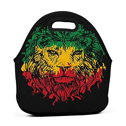 Large Size Reusable Lunch Handbag Rasta,Ethiopian Flag Colors on Grunge Sketchy Lion Head with Black Backdrop, Pale Green and Yellow,horse lunch bag for girls