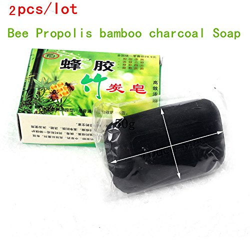 2pcs/lot Bee Propolis Charcoal Bamboo Soap Handmade Soap White Essential Whitening Acne Removal Oil Control Skin Moisturize 50g