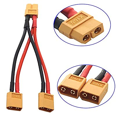 ShareGoo 2PCS 14AWG XT60 Parallel Battery Connector 2-Male to 1-Female XT-60 Cable Dual Extension Y Splitter Harness Adapter for RC Multicopter Quadcopter Aircraft,3.93