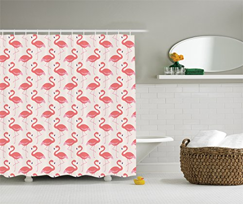 Compare price flamingo shower curtain hooks on for Flamingo bathroom accessories set
