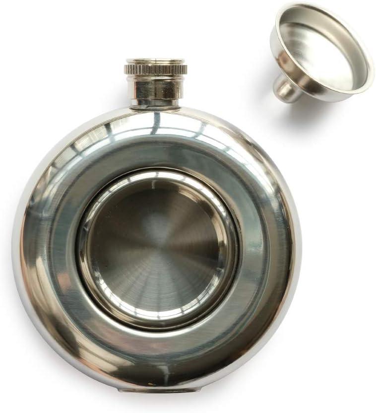 RRIBOUDWAN Food Grade Stainless Steel Flasks for Liquor for men, Hip Flask Funnel, Whiskey/Vodka Flask Set 5 OZ Capacity Silver