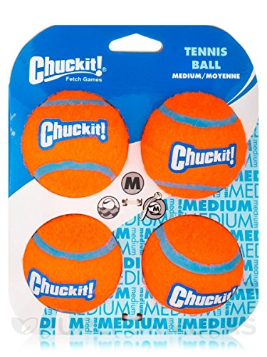 Dog Tennis Ball (Chuckit! Tennis Balls, Medium, 4 Balls)