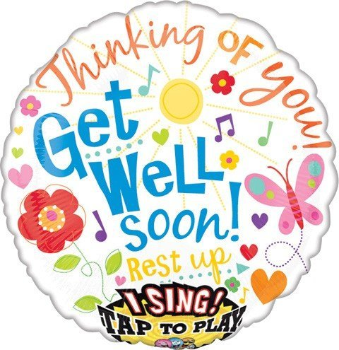 Party Get Well Balloon - Get Well Soon Singing Balloon 28 inch Mylar Balloons 28