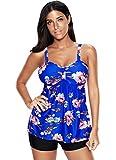 Century Star Women's Plus-Size Swimsuit Retro Printed Swimdress Modest Skirted Two Piece Swimwear with Boyshort Z Floral Blue 2XL(US:12-14)