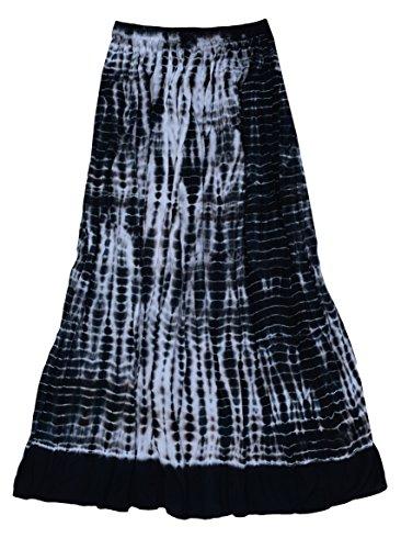 Ayurvastram Viscose Rayon Crinkled Tie n Dye Long Skirt: Black/Grey, L