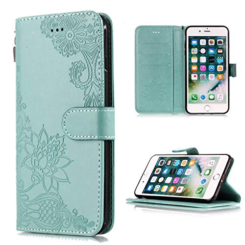 (Shinyzone Wallet Case for iPhone 8 Plus,iPhone 7 Plus Case Embossed Henna Mandala Pattern Series,Smart Stand and Magnetic Closure Leather Folio Flip Cover with ID Credit Card Slots-Green)